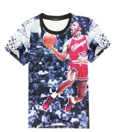 Wholesale Good Quality Black T Shirts - 2016 Summer Fashion Clothing Men's BASKETBALL T Shirt Funny Printed t-shirt With Good Quality Tops