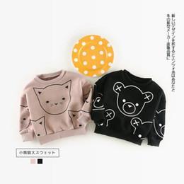 Wholesale Kids Bear Hoodie - Ins Winter kids girl boy Hoodies cartoon little cat or bear print 100% cotton child thick pulloverer Hoodies & Sweatshirts 2 color