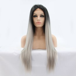 Wholesale High Fashion Hairstyles - New Fashion Women Long Straight Hairstyle Ombre Black To Grey Color High Temperature Fiber Lace Front Synthetic Hair Wigs