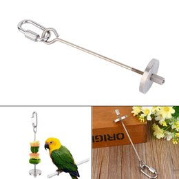 Wholesale Pet Parrot Supplies - New Stainless Steel Bird Toy Bird Parrot Parakeet Budgie Skewer Fruit Spear Holder Parrot Birds Food Meat Holder Pet Supplies