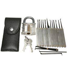 Wholesale Locksmith Door Tool - 16pcs Training Lock Pick Set Locksmith Practice Tools With Transparent Cutaway for Opener Unlock Door