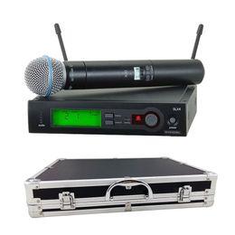 Argentina Con una caja de aluminio para el escenario! MICROFONO DOBLE INALÁMBRICO UHF PRO SLX24 / BETA58 58A MIC inalámbrico para KTV Karaoke DJ cheap karaoke system wireless mic Suministro