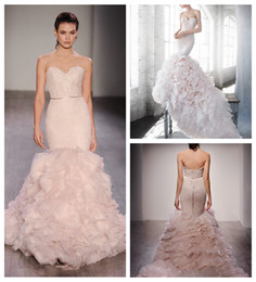 Wholesale Tulle Chantilly - Blush Nets Tiered Mermaid Wedding Dress Vintage Strapless Ruffled Organza Skirts Bridal Gowns Chantilly Lace Modest Wedding Gowns