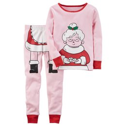 Wholesale Kids Santa Claus Pajamas - 2 Colors New Children Pajamas Christmas Santa Claus And Grandmother Cartoon Printing Pajamas outfits long-sleeved+pants Tracksuit Suit kids