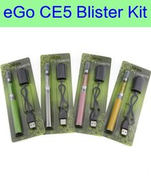 Wholesale Ego Starter Kit Ce5 Clearomizer - CE5 eGo-t Blister ecig Kit - ecigs ce5 clearomizer no wicks eGo-t 650 900 1100mAh battery vape pen electronic cigarette starter kit