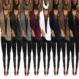 Wholesale Cheap Lady T Shirts - European Autumn Women Sexy Long Sleeve Turtle Neck T-shirt 8 Color Tops Cheap Dresses Clothin Lace Crochet Ladies Fashion Casual Sweater