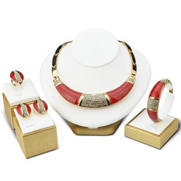 Wholesale Coral Drop Earrings - Top Grade Drop Oil Enamel Jewelry Set Necklace Earring Bracelet Ring Gxaggeration Gold Middle East Europe America Jewelry Purple Red