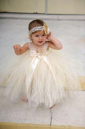 Wholesale Newborn Christening Gowns - champgne beaded lace newborn baby flower girls dresses 2015 spaghetti ball gown infant little girls pageant dresses formal for wedding