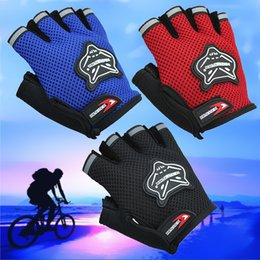 Wholesale Cycling Protective Gear - Hot Selling Racing Cycling Gloves Half Fingers Gloves Outdoors Sports Protective Gear Men Children Net Gloves 4Colors Free Shipping