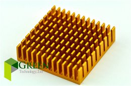 Wholesale Bridge Aluminum - 10pcs lot 40mm 4cm 40*40*11MM Golden Aluminum Heatsink Graphics card Cooling Cooler North and south bridge Heat Sink