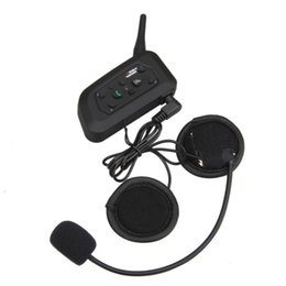 Wholesale Helmet Interphone Bluetooth Intercom - V6 BT Multi Interphone Bluetooth Intercom Motorcycle Wireless Headphones 1200M Helmet Headset 6 Riders Motorbike Accessories