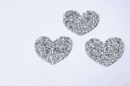 Wholesale transfer motifs - 25pcs lot Heart design Hotfix rhinestones Motifs Iron on Patches heat transfer Motif crystal strass Applique for clothing craft