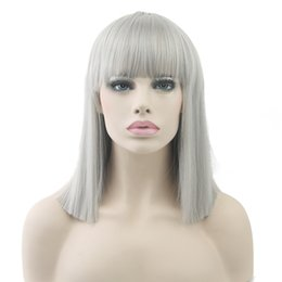 Wholesale Gray Short Cosplay Wigs - 8 Colors Short Straight Heat Resistant Synthetic Hair Gray Nature Black Women Party Cosplay Wigs
