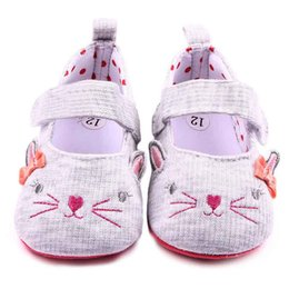 Wholesale Cute Shoes For Toddler Girls - 2016 Toddler Casual Shoes for Girls Cute Cat Design Lace Band cartoon print on Soft Sole Polka Dot Linning Infant Walking Shoes