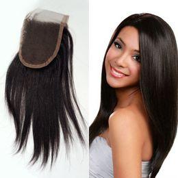 Wholesale Light Yaki Human Hair - Human Hair Lace Closure Brazilian Light Yaki Hair Closure 4x4 Free Part Closure 8-20 inch Remy Hair Free Shipping FDSHINE