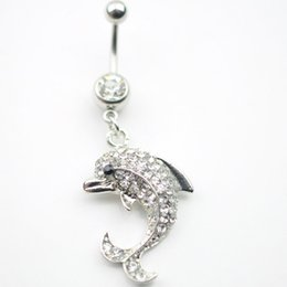 Wholesale 0042 Nice style dolphin design Navel Belly ring silver plated clear stone stones stone drop shipping factory price