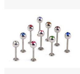 Wholesale Piercing Bulk - mix Bulk Stainless Steel Lip Chin Labret Ring Bar Stud Tragus Ball Body Piercing Puncture Crystal flat bottom lip nail stainless steel body