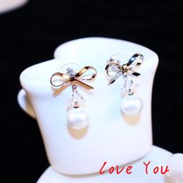 Wholesale Pearl Drop Earrings White Gold - Elegant bowknot Earrings Fashion Pearl Dangle Earrings Korean Drop Earrings for Women Platinum Plated Fine Jewelry Party Wedding Bride Costu