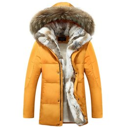 Wholesale mens rabbit coats - Fall-2016 new men coat luxury design racoon fur collar with rabbit fur inside coat white duck down mens winter parka with fur hood