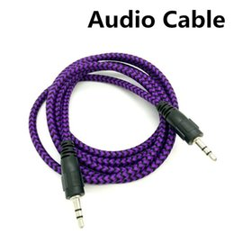 Wholesale Iphone Car Cord - High Quality 3.5mm Braided AUX Audio Cable Woven 1.5M Auxiliary Stereo Jack Male Car Colorful Cord for iphone 6s Samsung S7 S6 Speaker MP3