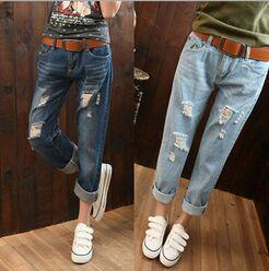 Wholesale Womens Ripped Jeans - Women's Hole Jeans Straight Pants Ripped Jeans With Holes Ladies Denim Shorts Skinny Womens Jean Pants casual ripped jeans for women