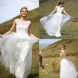Wholesale Marie Red - Marie Laporte Backless Wedding Dresses Jewel Neck Lace Applique Bridal Gowns Sleeveless Sweep Train Cheap Plus Size 2016 Wedding Dress
