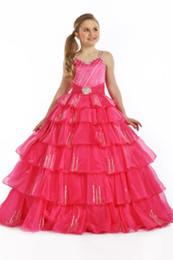 2016 Custom Made New Peach Organza Ball Gown Girl Pageant Abiti cinghie strass Mosaico di compleanno per bambini Abiti da sposa da nuovo vestito da cerimonia nuziale della pesca fornitori