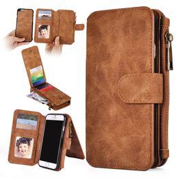 Wholesale Vintage Fit - For Galaxy S8 S7 edge Magnetic Flip Leather Wallet Case Zipper Detachable Removable Vintage Retro Phone Cover For iphone 7 6S Plus 5S