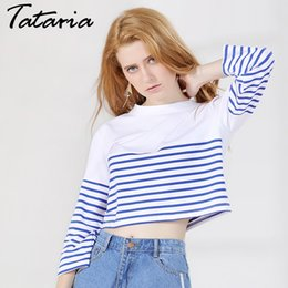 Wholesale Ladies Striped Tees - T-shirts For Women Loose Style Striped Long Sleeve Camiseta Feminina O Neck Causal Tee Shirt Female Cotton Tops Ladies GAREMAY