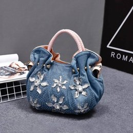Wholesale Blue Jean Bag - 17918002 2017 Woman Denim Handbags Bags Vintage Luxury Rhinestone Shoulder Bags Women's Small Bags Jean Bolsas Femininas For Women