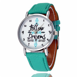 Wholesale Personality Glasses For Women - Wholesale Fashion casual watch watches Follow Your Dreams Personality english pattern watches for women men Leather quartz wristwatches