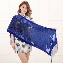 Wholesale Gold Lovers Cream - 2016 US UK Hot Selling Vintage Colorful Luxury Peacock Velvet Scarf Women Soft Evening Winter Shawl Pashmina For Lovers Free Shipping