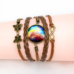Wholesale Time Beads Charms - Vintage Handmade Wristband Multilayer Braided Unisex Bracelet Bangles Time Gem Glass Bead Friendship Bracelets For Women Or Men