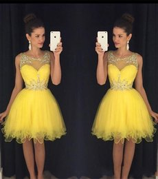 Wholesale Prom Dress Bright - Short Tulle Homecoming Dresses Bright Yellow 2016 New Sheer Crew Neck with Beads Mini Prom Party Gowns vestido formatura curto BA2861