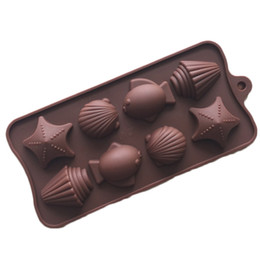 Wholesale Silicone Ice Tray Fish - Candy Molds & Ice Cube Trays- Fish&Sea Shell-Silicone Chocolate Molds - Fun, Toy Kids Set for Sale Free Shipping