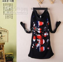 Wholesale Uk T Shirt Printing - 2013 women's cotton t-shirt tops casual long sleeve UK flag hollow out t-shirt 2colors