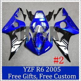 Wholesale Custom Sportbike Fairings - Fairing set for Yamaha 05 YZF-R6 Custom Painting Motorcycle Fairing YZF R6 05 Red white motorcycle sportbike Bodycover with gifts