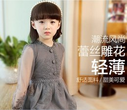 Wholesale Elegant Knee Length - 2017 children korean style Girl's princess grenadine long sleeves dresses lace elegant pure color carving flower dress Q0291