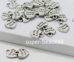 Wholesale Silver Thank Charms - 500Pcs Antique Silver Bronze Hearts Letter Thank you Charms Prndant For Jewelry Making 10*12mm