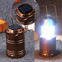 Wholesale Ni Mh Rechargeable - Multifunction 6 LEDs Rechargeable Light Collapsible Solar Camping Lantern Tent Lights portable Flashlight for Outdoor Camping Hiking