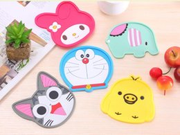 Wholesale Tea Coasters Designs - Catoon Design Sweet Animal Coffee Cup PAD MAT Round Protective Heat Resistant Tea Coffee Cup Coaster Cup Mat Pad Free shipping