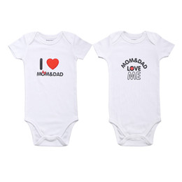 Wholesale Cheap Boys White Suits - Baby Bodysuits White Cheap Baby Boy Romper Summer I Love Mom and Dad Baby Cotton Body Suit Newborn Baby Products 2 Pieces Lot