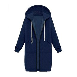 Wholesale Thick Cotton Womens Hoodie - New Womens Casual Zip up Hoodies Coats Pockets Tunic Sweatshirt Long Hoodie Outerwear Jacket