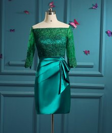 Wholesale Actual Photo Knee Length Dress - Green Turquoise Mother of the Bride Dresses Actual Images Sheer Half Sleeves Lace Women Formal Occasion Wear Knee Length Groom Mother Gonw