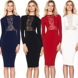 Wholesale Long Casual Blue Dress - 2017 New Vestidos Femininos Ladies Bodycon Dresses for Women Front Lace Long Sleeves Slim Casual Dress Navy Blue Black Red White Knee Length