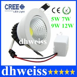 Wholesale High Lumen Led Recessed Lighting - Newest 5W 7W 9W 12W COB Led Downlight Dimmable Recessed Led Ceiling Light White Shell High Lumen For Home Light AC 85-265V