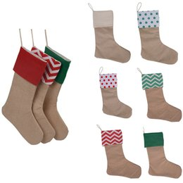 Wholesale Large Outdoor Christmas Decorations Wholesale - 2017 Canvas Christmas Stocking Gift Bags Canvas Christmas Xmas Stocking Large Size Plain Burlap Decorative Socks Bag 12*18inch 20PCS