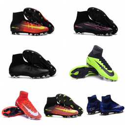 Wholesale Cheap Gold Ankle Boots - Mercurial Superfly FG Mens Football Soccer Shoes Mercurial Soccer Cleats Superfly Ankle High Football Boots Superflys Soccer Boots Cheap