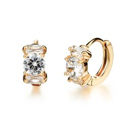 Wholesale Cheap Wedding Clip Earrings - LCL JEWELRY Woman Wedding Clip Earrings Luxury AAA+ Cubic Zirconia 18K Gold Plated Women Vintage Jewelry Cheap Price SKE663