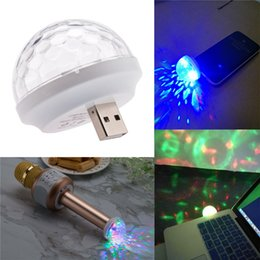 Wholesale Mobile Ball - USB Voice Flash KTV MiNi LED Small Magic Ball Voice Control Rotating Colorful KTV Flash Stage Light for Q7 microphone mobile phone